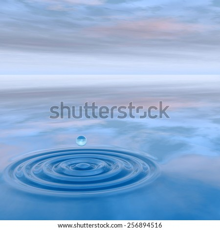 Concept or conceptual blue liquid drop falling in water splash background with ripples and waves, metaphor to nature, natural, summer, spa, drink, cool, business, environment, rain or health design #256894516
