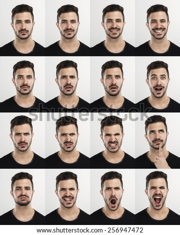 Composite of multiple portraits of the same man in different expressions Royalty-Free Stock Photo #256947472