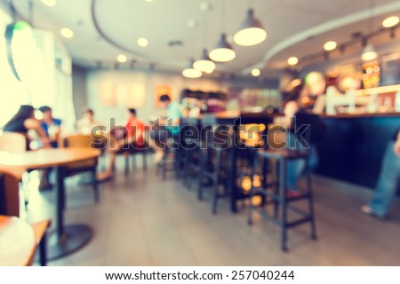 Blurred background made with Vintage Tones,Coffee shop blur background with bokeh  Royalty-Free Stock Photo #257040244