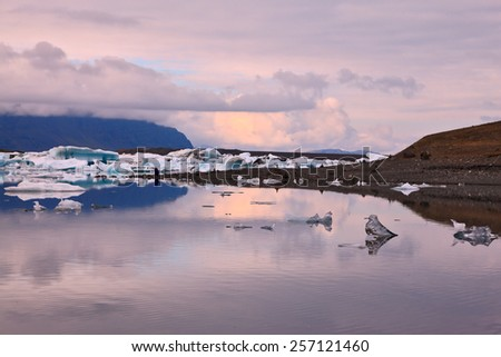 Pink sunset in July. Translucent icebergs in the Ice lagoon Jokulsarlon. South-East Iceland #257121460