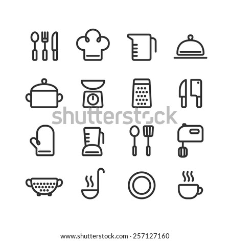 Set of clean line icons featuring various kitchen utensils and cooking related objects. Royalty-Free Stock Photo #257127160