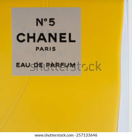 GLASGOW, SCOTLAND, UK - 2 MARCH 2015: closeup of Chanel No5 perfume #257133646