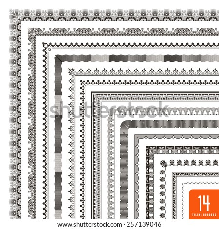 large collection of seamlessly tiling borders/frames #257139046