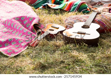 Empty campsite at music festival on a sunny day Royalty-Free Stock Photo #257145934