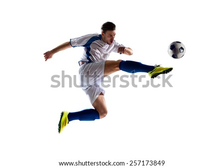 football soccer player in action  isolated white background Royalty-Free Stock Photo #257173849