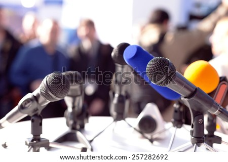 News conference Royalty-Free Stock Photo #257282692