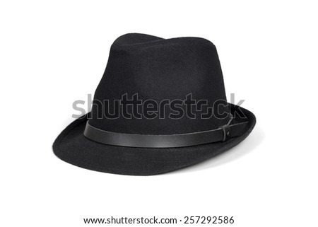 Black fashion hat isolated on white with clipping path. #257292586