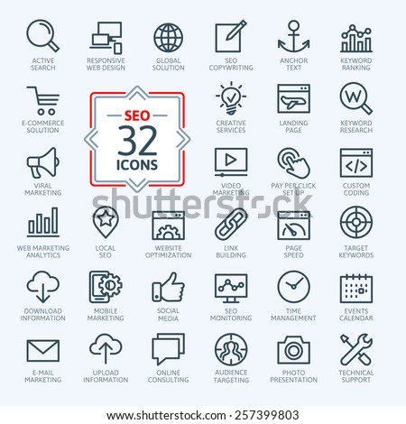 Outline web icons set - Search Engine Optimization  #257399803