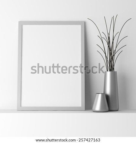 blank gray photo frame on white shelf #257427163