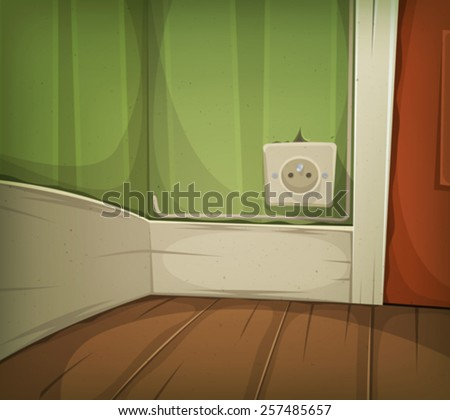 Cartoon Corner Of Room Close-Up/ Illustration of a cartoon home or office corner of room detail with wooden flooring, power supply and closed door #257485657