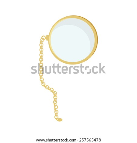 Golden monocle with chain vector isolated, hipster style, retro #257565478