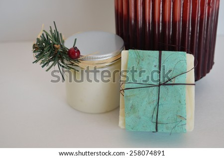 Decorative soap and candle with base of candle #258074891