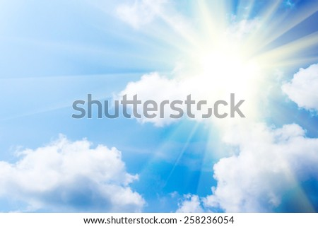 blue sky with white cloud background Royalty-Free Stock Photo #258236054