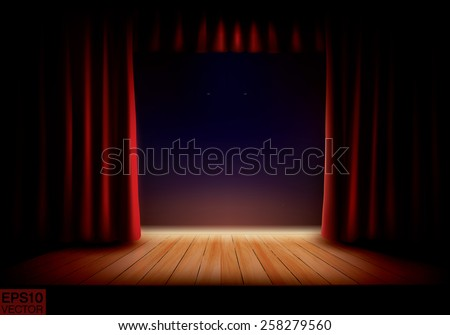 Stage with red curtains and wooden podium. Vector background #258279560