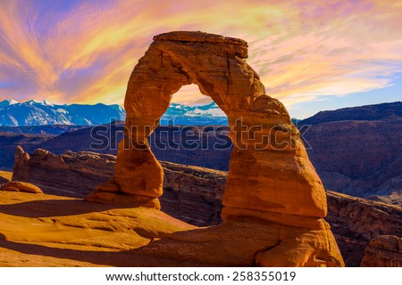 Beautiful Sunset Image taken at Arches National Park in Utah Royalty-Free Stock Photo #258355019