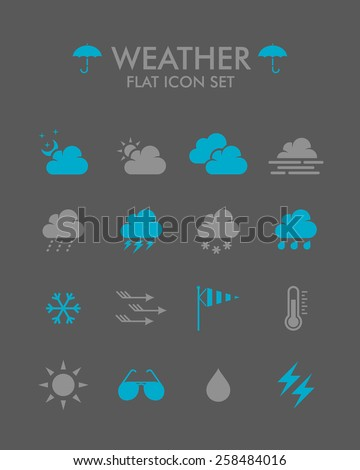 Vector Flat Icon Set - Weather  #258484016