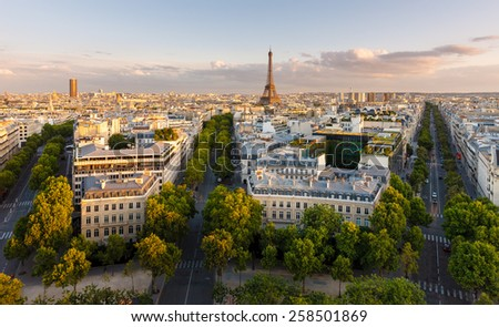 Paris from above showcasing the capital city's rooftops, the Eiffel Tower,  Paris tree-lined avenues with their haussmannian buildings and Montparnasse tower (16th arrondissement, Paris, France)