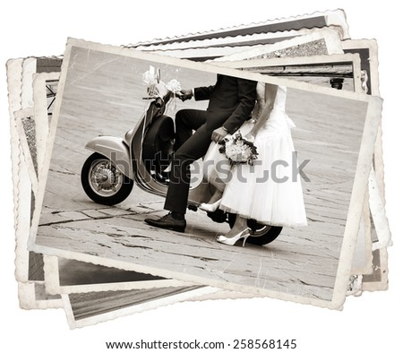Black and white photos, Vintage photos with Young newlywed just married, posing on an old gray scooter