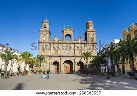 LAS PALMAS, GRAN CANARIA, CANARY ISLANDS - JANUARY 03, 2014: The Cathedral of Saint Ana situated in the old district Vegueta in Las Palmas de Gran Canaria, Spain #258585557