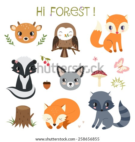 Woodland animals and decor elements set. Raster.