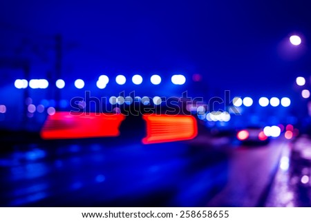 Night industrial city, cars go on the road. In blue tones #258658655