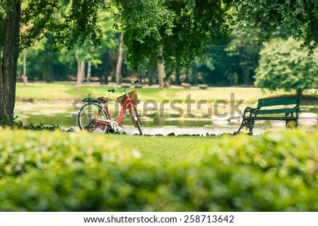 Red bicycle in fresh summer park