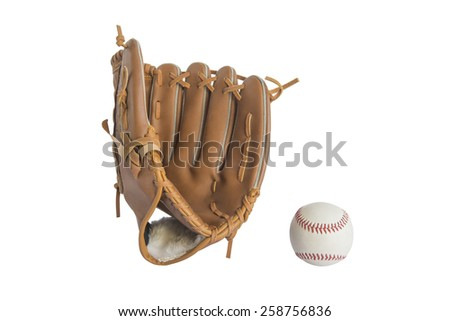 baseball glove and ball isolated on white background Royalty-Free Stock Photo #258756836