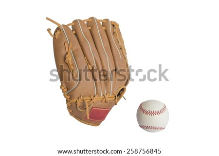 baseball glove and ball isolated on white background Royalty-Free Stock Photo #258756845