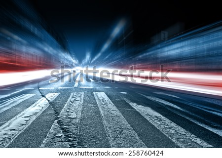 Blurred car lights, long exposure photo of traffic