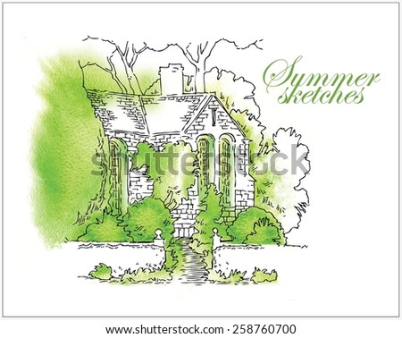 Hand made watercolor vector sketch of summer, trees and houses #258760700