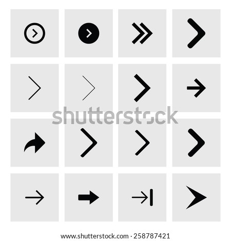 Next arrow icon set. simple pictogram minimal, flat, solid, mono, monochrome, plain, contemporary style. Vector illustration web internet design elements #258787421