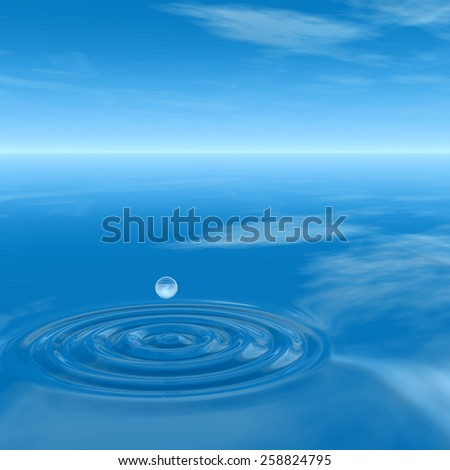 Concept or conceptual blue liquid drop falling in water splash background with ripples and waves, metaphor to nature, natural, summer, spa, drink, cool, business, environment, rain or health design #258824795