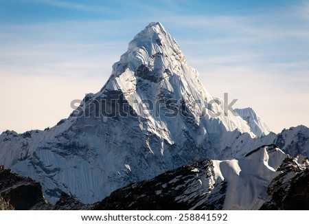 Evening view of Ama Dablam on the way to Everest Base Camp - Nepal Royalty-Free Stock Photo #258841592