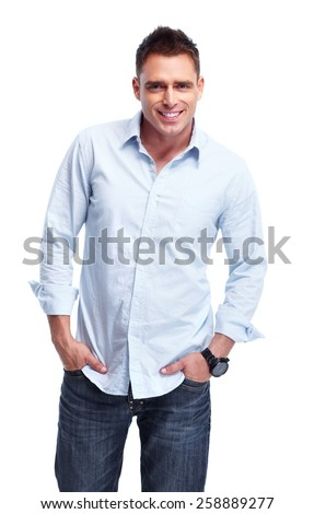 Young handsome man isolated on white background. #258889277