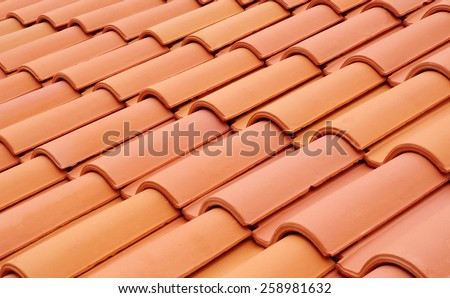 New roof with ceramic tiles closeup #258981632