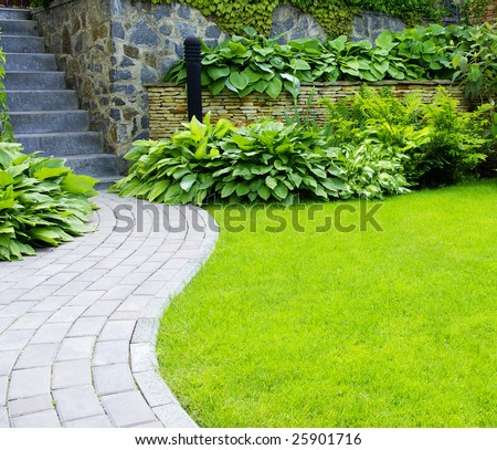 Garden stone path with grass growing up between the stones #25901716