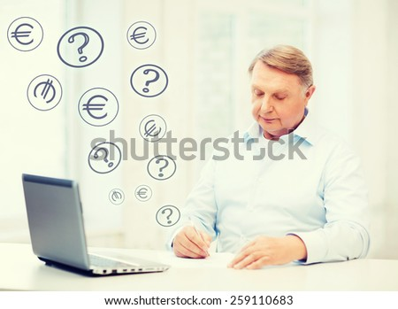business, tax, office, school and education concept - old man filling a form at home #259110683