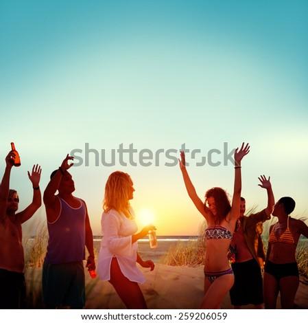Friends Beach Party Drinks Toast Celebration Concept #259206059