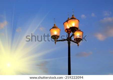 light pole in evening and sun beams #259222094