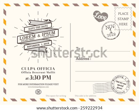 Vintage postcard background vector template for wedding invitation Royalty-Free Stock Photo #259222934