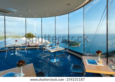 DUBROVNIK, CROATIA - MAY 26, 2014: Interior of restaurant near Dubrovnik cable car station. Cable car connects Ploce and mountain Srdj above town where you can enjoy a panoramic view of Old Town #259231187