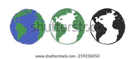 Planet earth grunge scratched drawing paint icons. Raster color clip art illustration isolated on white