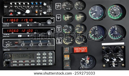 Close up of an helicopter control panel #259271033