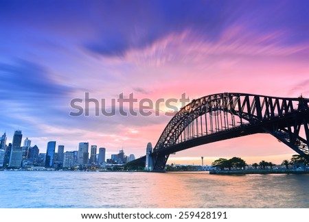 Sydney Harbour Panorama viewed from Kirribilli in North Sydney at dusk Royalty-Free Stock Photo #259428191