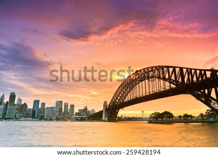 Sydney Harbour Panorama viewed from Kirribilli in North Sydney at dusk Royalty-Free Stock Photo #259428194