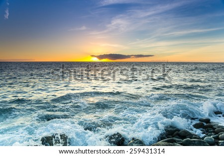 The coast of Atlantic ocean on sunset, Gran Canaria, Canary islands, Spain Royalty-Free Stock Photo #259431314