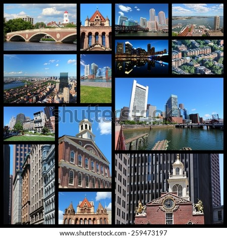 Photo collage from Boston, United States. Collage includes major landmarks like State House, city skyline and Harvard University.
