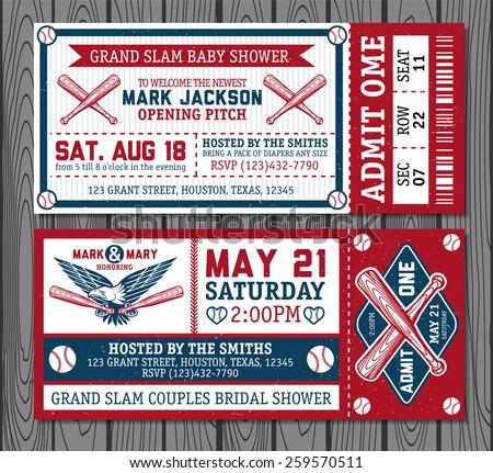 Set of vintage baseball tickets