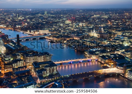 London night skyline  view with St Paul Cathedral #259584506
