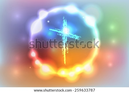 An illustration of a hand drawn cross surrounded by an abstract glowing background. Vector EPS 10. EPS file contains transparencies and a gradient mesh. #259633787